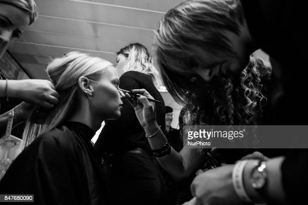 A model is seen backstage ahead of the Ralph amp Russo show during London Fashion Week September 2017 on September 15 2017 in London England