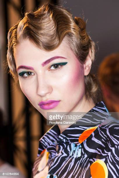 A model is seen backstage ahead of the Raquel Hladky show during the MercedesBenz Fashion Week Berlin Spring/Summer 2018 at Kaufhaus Jandorf on July...