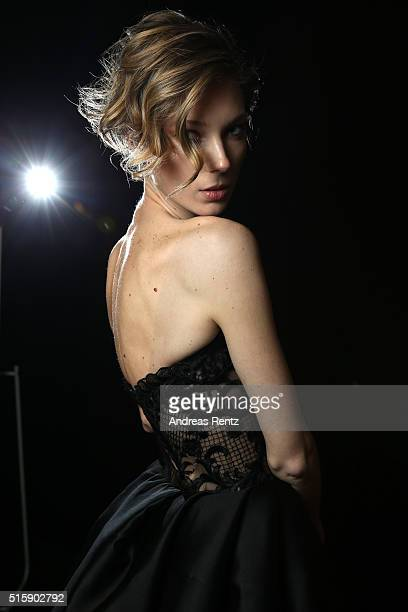 A model is seen backstage ahead of the Rasit Bagzibagli Couture show during the MercedesBenz Fashion Week Istanbul Autumn/Winter 2016 at Zorlu Center...
