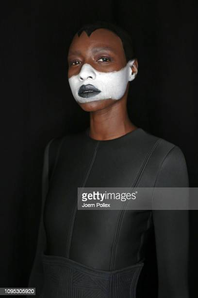 A model is seen backstage ahead of the Richert Beil show during the Berlin Fashion Week Autumn/Winter 2019 at ewerk on January 17 2019 in Berlin...