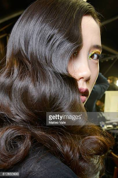 A model is seen backstage ahead of the Richmond show during Milan Fashion Week Fall/Winter 2016/17 on February 28 2016 in Milan Italy