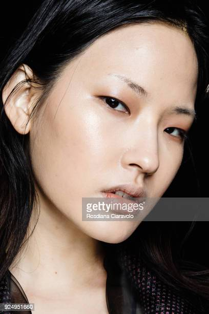 A model is seen backstage ahead of the Ricostru show during Milan Fashion Week Fall/Winter 2018/19 on February 26 2018 in Milan Italy