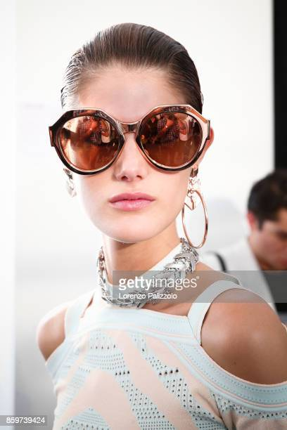A model is seen backstage ahead of the Roberto Cavalli show during Milan Fashion Week Spring/Summer 2018on September 22 2017 in Milan Italy