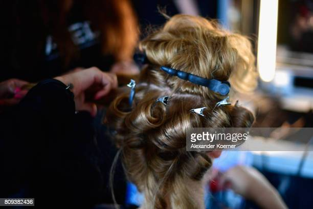A model is seen backstage ahead of the Salonshow at Greenshowroom during the MercedesBenz Fashion Week Berlin Spring/Summer 2018 at Funkhaus Berlin...