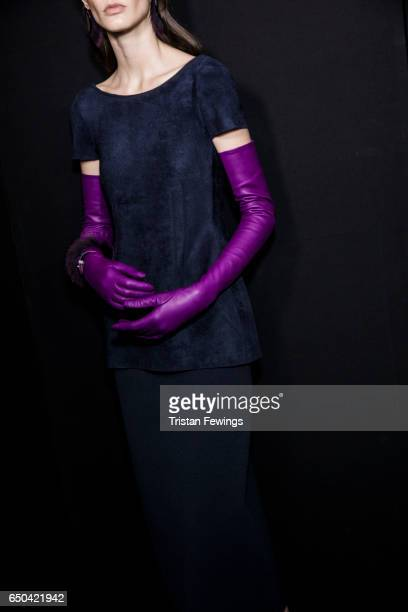 A model is seen backstage ahead of the Salvatore Ferragamo show during Milan Fashion Week Fall/Winter 2017/18 on February 26 2017 in Milan Italy