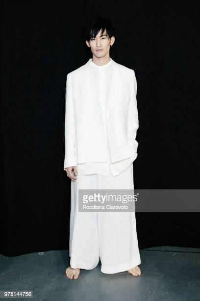 A model is seen backstage ahead of the Sartorial Monk show during Milan Men's Fashion Week Spring/Summer 2019 on June 18 2018 in Milan Italy