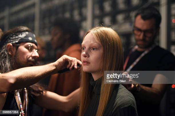 A model is seen backstage ahead of the Selected Femme/Homme fashion show during the Bread Butter by Zalando at arena Berlin on September 3 2016 in...