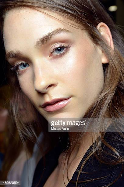 A model is seen backstage ahead of the Simonetta Ravizza show during Milan Fashion Week Spring/Summer 2016 on September 23 2015 in Milan Italy