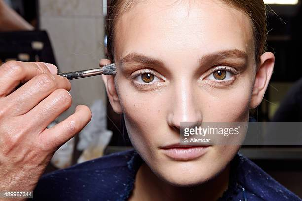 Model is seen backstage ahead of the Sportmax show during Milan Fashion Week Spring/Summer 2016 on September 25 2015 in Milan Italy