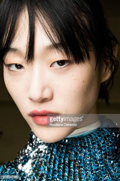 A model is seen backstage ahead of the Sportmax show during Milan Fashion Week Fall/Winter 2018/19 on February 23 2018 in Milan Italy