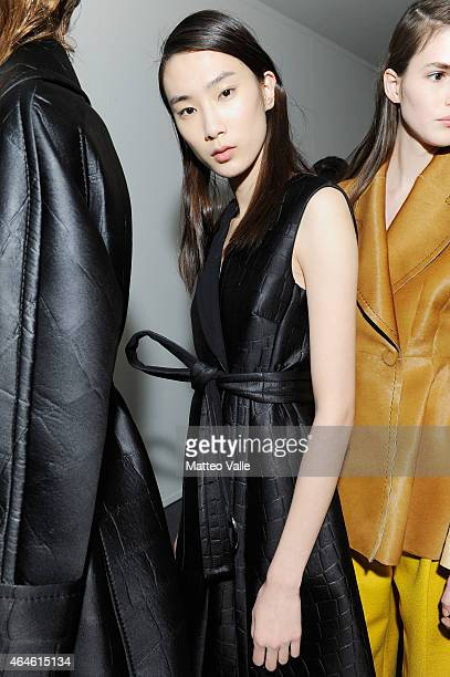 Model is seen backstage ahead of the Sportmax show during the Milan Fashion Week Autumn/Winter 2015 on February 27, 2015 in Milan, Italy.