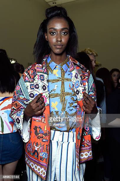 Model is seen backstage ahead of the Stella Jean show during Milan Fashion Week Spring/Summer 2016 on September 23 2015 in Milan Italy