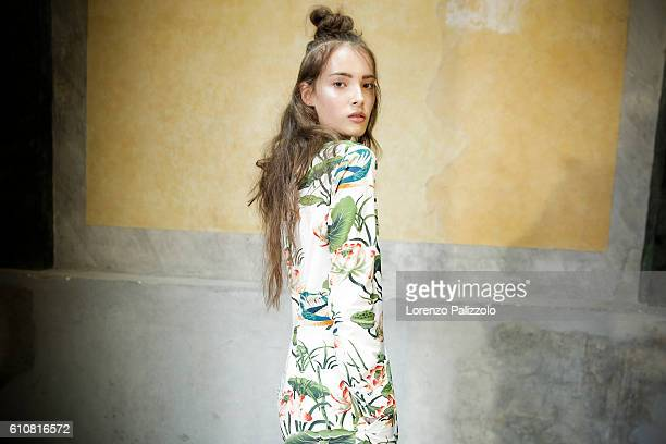 A model is seen backstage ahead of the Stella Jean show during Milan Fashion Week Spring/Summer 2017 on September 25 2016 in Milan Italy