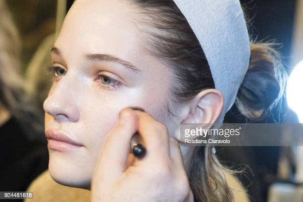 A model is seen backstage ahead of the Stella Jean show during Milan Fashion Week Fall/Winter 2018/19 on February 25 2018 in Milan Italy