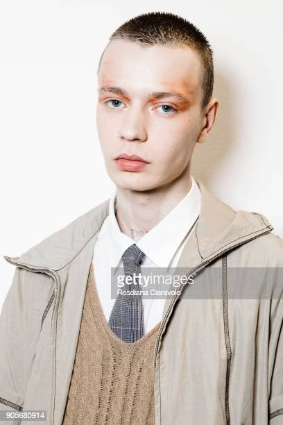 A model is seen backstage ahead of the Sulvam show during Milan Men's Fashion Week Fall/Winter 2018/19 on January 14 2018 in Milan Italy