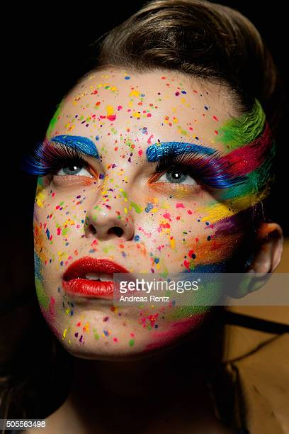 Model is seen backstage ahead of the 'The Power Of Colors - MAYBELLINE New York Make-Up Runway' show during the Mercedes-Benz Fashion Week Berlin...