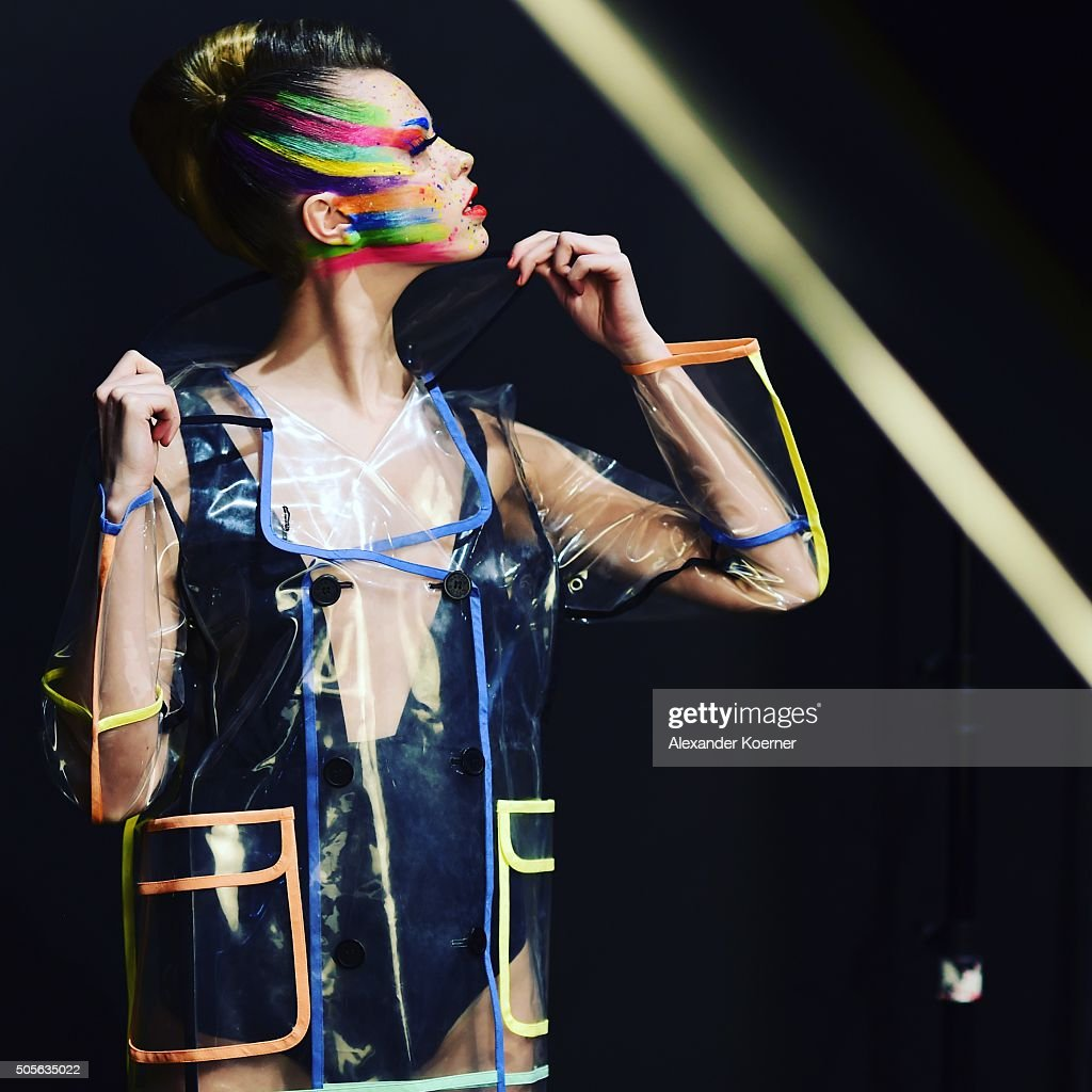 A model is seen backstage ahead of the 'The Power Of Colors - MAYBELLINE New York Make-Up Runway' show during the Mercedes-Benz Fashion Week Berlin Autumn/Winter 2016 at Brandenburg Gate on January 18, 2016 in Berlin, Germany.