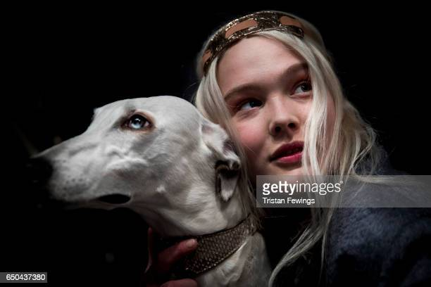 A model is seen backstage ahead of the Trussardi show during Milan Fashion Week Fall/Winter 2017/18 on February 26 2017 in Milan Italy