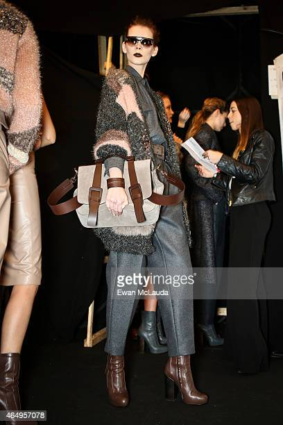 A model is seen backstage ahead of the Trussardi show during the Milan Fashion Week Autumn/Winter 2015 on March 1 2015 in Milan Italy