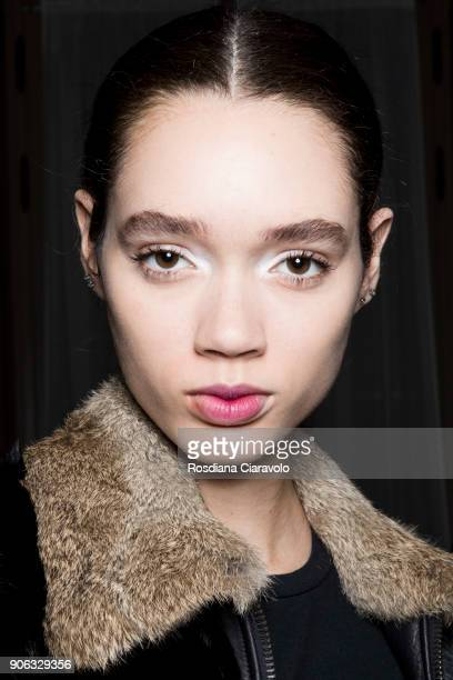 A model is seen backstage ahead of the Twin Set show on January 17 2018 in Milan Italy
