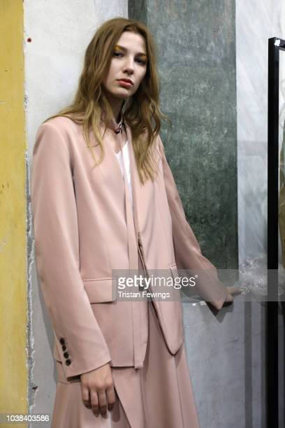 A model is seen backstage ahead of the Ujoh show during Milan Fashion Week Spring/Summer 2019 on September 23 2018 in Milan Italy