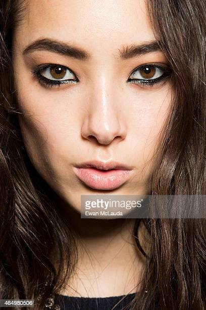 A model is seen backstage ahead of the Versace show during the Milan Fashion Week Autumn/Winter 2015 on February 27 2015 in Milan Italy
