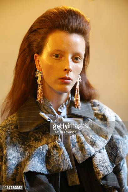 A model is seen backstage ahead of the Vivetta show at Milan Fashion Week Autumn/Winter 2019/20 on February 21 2019 in Milan Italy