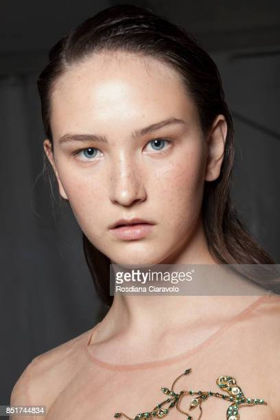 Model is seen backstage ahead of the Vivetta show during Milan Fashion Week Spring/Summer 2018 on September 21, 2017 in Milan, Italy.