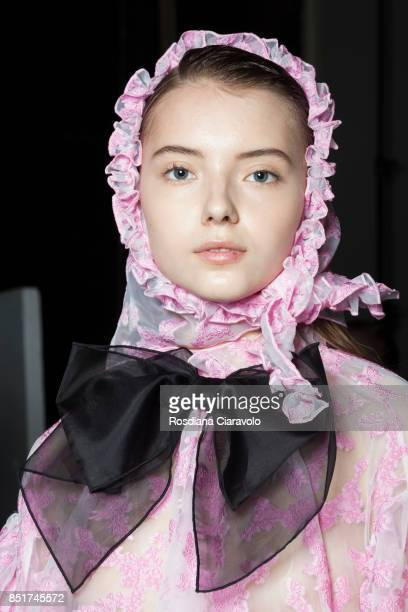 Model is seen backstage ahead of the Vivetta show during Milan Fashion Week Spring/Summer 2018on September 21, 2017 in Milan, Italy.