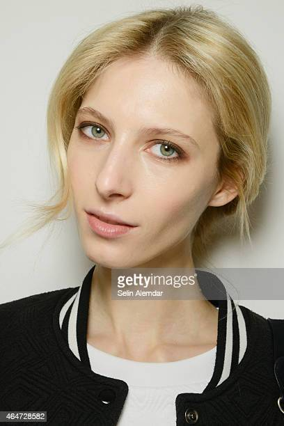Model is seen backstage ahead of the Vivetta show during the Milan Fashion Week Autumn/Winter 2015 on February 28, 2015 in Milan, Italy.