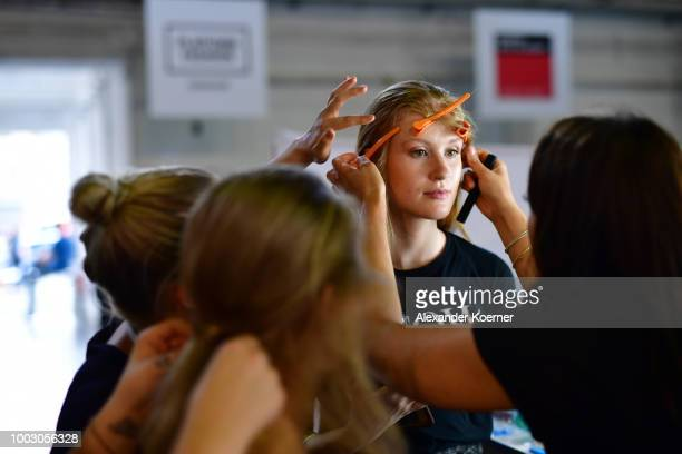 A model is seen backstage ahead the 3D Fashion Show by Lexus show during Platform Fashion July 2018 at Areal Boehler on July 21 2018 in Duesseldorf...