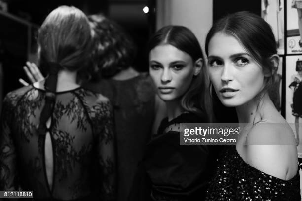 A model is seen backstage ahead the Aniye By fashion show on July 10 2017 in Milan Italy