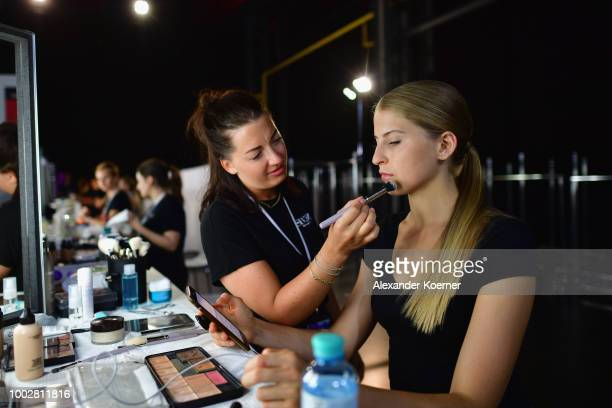 A model is seen backstage ahead the Breuninger show during Platform Fashion July 2018 at Areal Boehler on July 20 2018 in Duesseldorf Germany