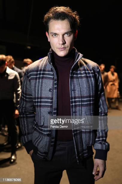 A model is seen backstage ahead the Damat show during MercedesBenz Istanbul Fashion Week at the Zorlu Performance Hall on March 19 2019 in Istanbul...
