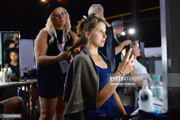 A model is seen backstage ahead the Fashionyard show during Platform Fashion July 2018 at Areal Boehler on July 21 2018 in Duesseldorf Germany