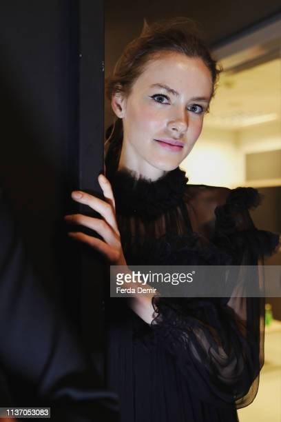 A model is seen backstage ahead the Ozlem Kaya show during MercedesBenz Istanbul Fashion Week at the Zorlu Performance Hall on March 20 2019 in...