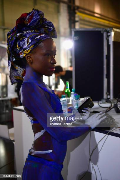 A model is seen backstage ahead the 'The NRW Design Issue' show during Platform Fashion July 2018 at Areal Boehler on July 22 2018 in Duesseldorf...