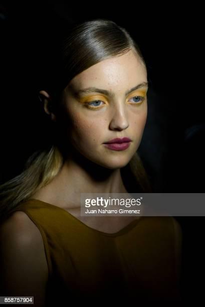 A model is seen backstage at the Aleksandar Protic fashion show during Lisbon Fashion Week 'ModaLisboa' Spring/Summer 2018 at Pavilhao Carlos Lopes...