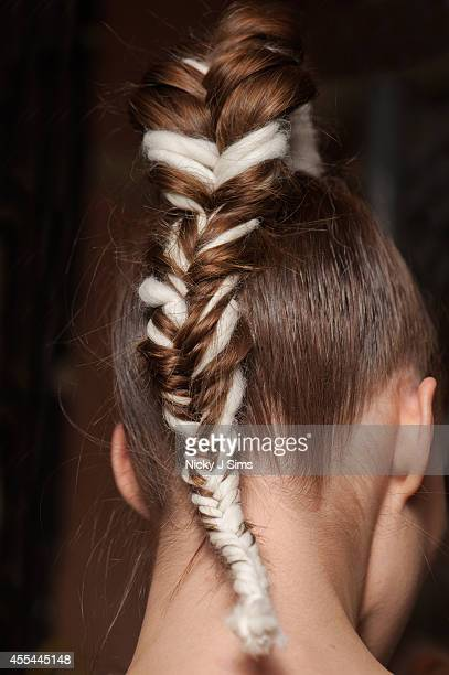A model is seen backstage at the Apu Jan show during London Fashion Week Spring Summer 2015 at Fashion Scout Venue on September 14 2014 in London...