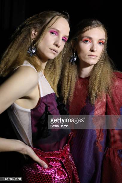 A model is seen backstage at the Belma Ozdemir show during MercedesBenz Istanbul Fashion Week at Zorlu Performance Hall on March 22 2019 in Istanbul...