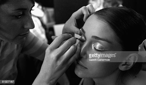 A model is seen backstage at the Ben De Lisi fashion show as part of London Fashion Week Spring/Summer 2005 at the BFC Tent Duke of York's HQ Kings...