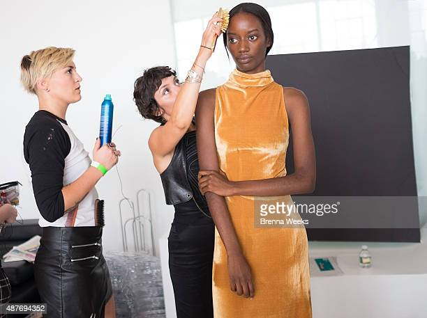 A model is seen backstage at the Brothers Vellies Presentation for Spring 2016 New York Fashion Week at Jack Studios on September 10 2015 in New York...
