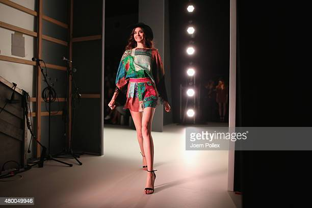 Model is seen backstage at the Dimitri show during the Mercedes-Benz Fashion Week Berlin Spring/Summer 2016 at Brandenburg Gate on July 9, 2015 in...