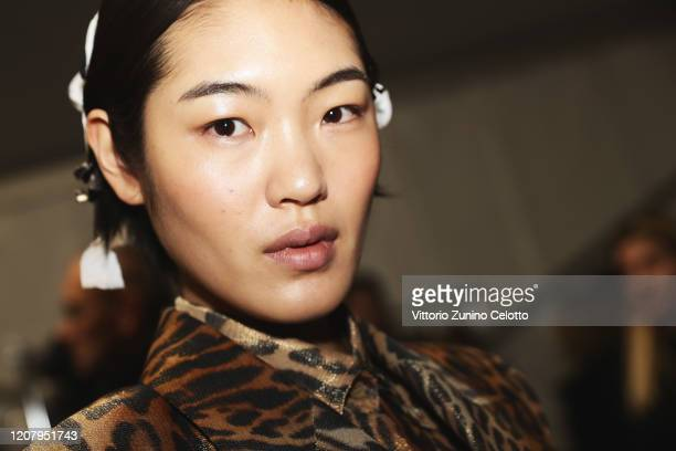 A model is seen backstage at the Ermanno Scervino fashion show on February 22 2020 in Milan Italy