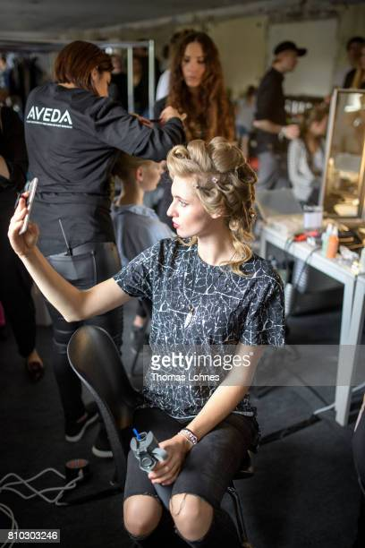 A model is seen backstage at the Greenshowroom Ethical Fashion Show during the MercedesBenz Fashion Week Berlin Spring/Summer 2018 at Funkhaus Berlin...