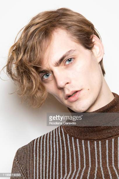 A model is seen backstage at the Marco De Vincenzo fashion show on January 14 2020 in Milan Italy