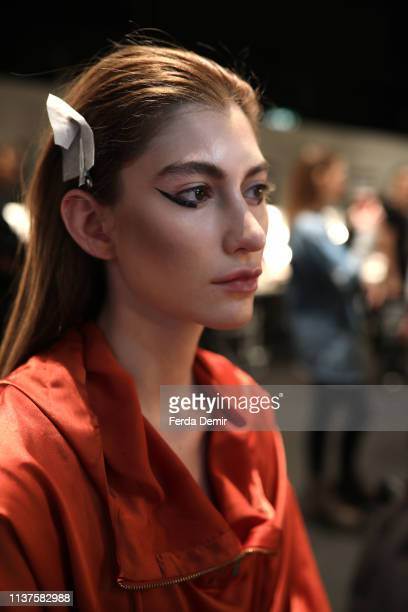 A model is seen backstage at the MiiN by Kadir Kilic show during MercedesBenz Istanbul Fashion Week at Zorlu Performance Hall on March 22 2019 in...