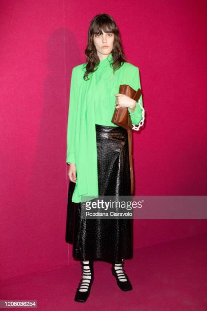 Model is seen backstage at the MSGM fashion show on February 22, 2020 in Milan, Italy.