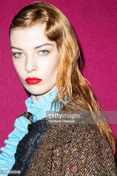 A model is seen backstage at the MSGM fashion show on February 22 2020 in Milan Italy