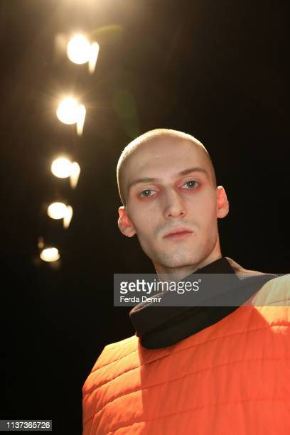 A model is seen backstage at the New GEN by IMA show during MercedesBenz Istanbul Fashion Week at Zorlu Performance Hall on March 21 2019 in Istanbul...